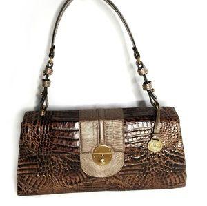 Brahmin brown gold crocodile embossed leather bag